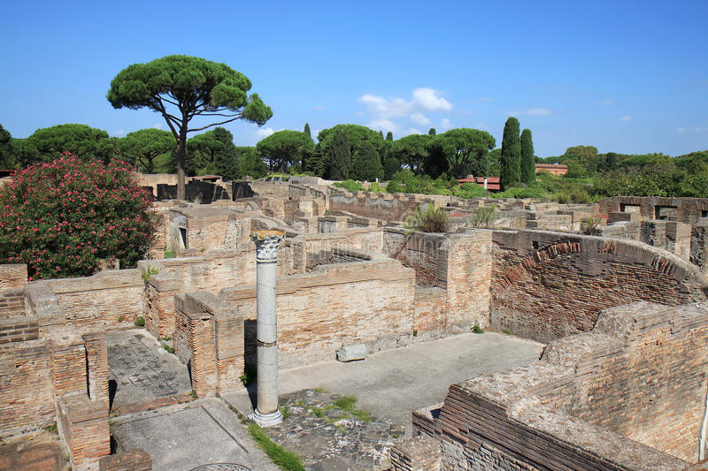 View over the House of the Porch, Ostia Antica, Italy. It is thought Ostia Antica, at the mouth of the river Tiber, was founded in about 335 BC as one of the stock images