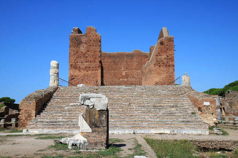 Ruins of the Capitoleum, Ostia Antica, Italy. It is thought Ostia Antica, at the mouth of the river Tiber, was founded in about 335 BC as one of the very first royalty free stock image