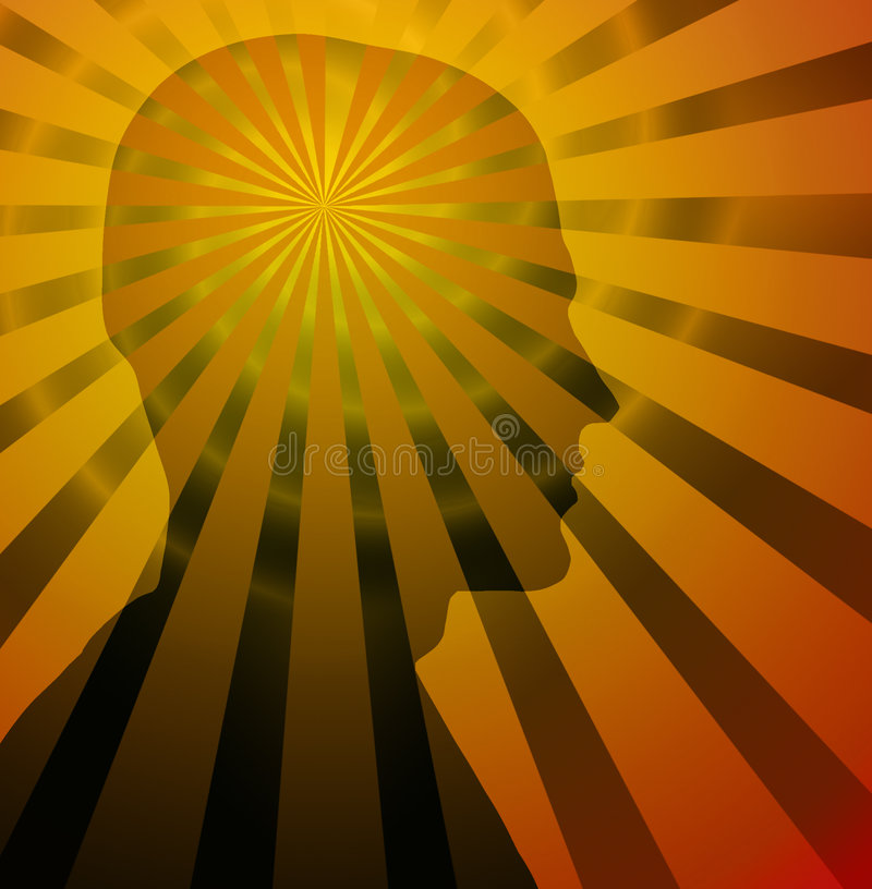 Thought Power. Beams & spiral radiate from silhouette of a head royalty free illustration