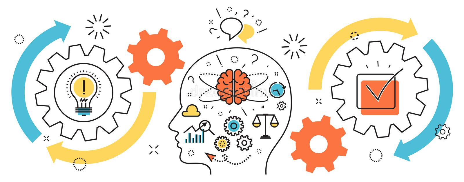 Thought process business startup idea mechanism into man brain. Flat line illustration of born business project startup thought process mechanism into man brain stock illustration