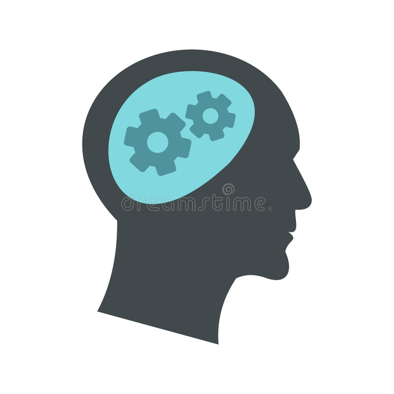 Thought process in head icon, flat style stock illustration