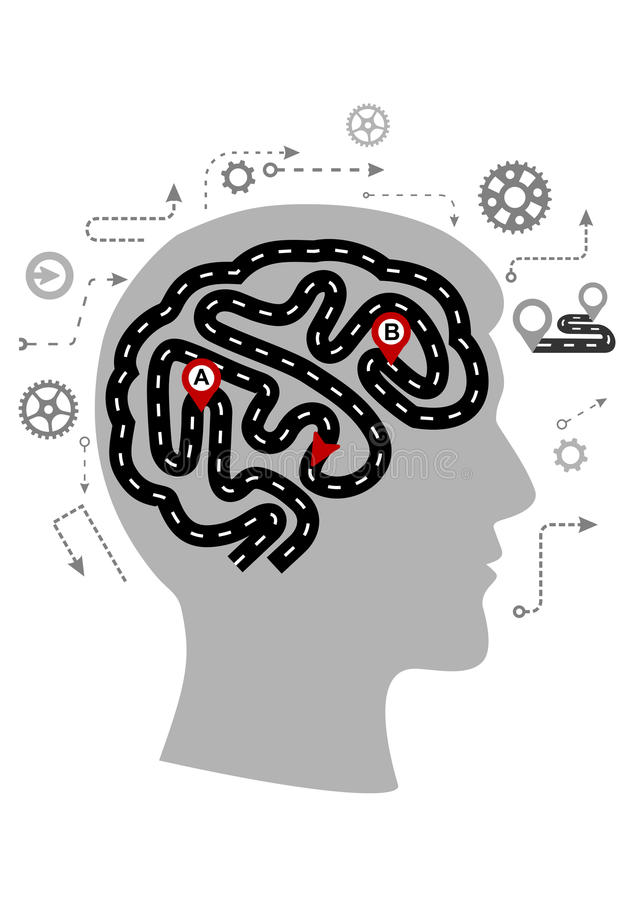 Thought processes of a human brain royalty free illustration