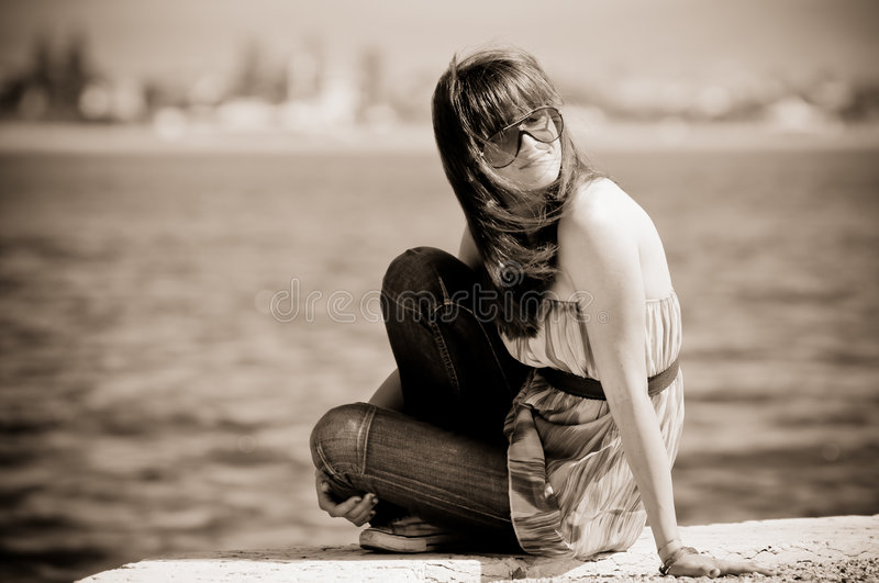 Thoughtful adolescent girl royalty free stock photography