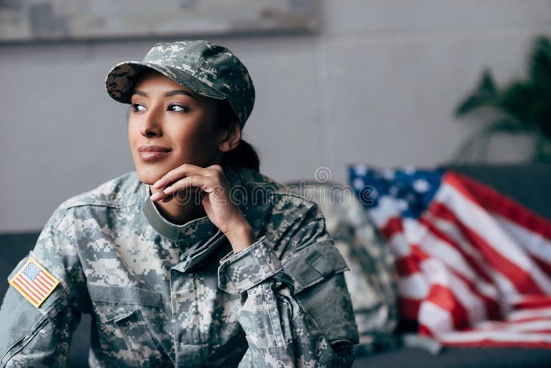 Thoughtful african american soldier stock photos