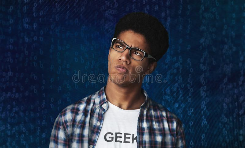 Thoughtful Afro Guy Thinking and Looking Aside royalty free stock image
