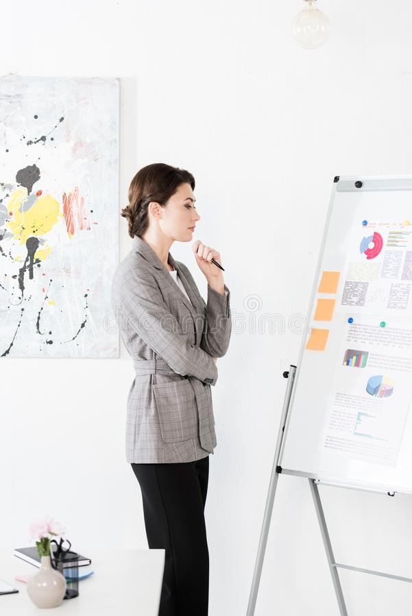 Thoughtful attractive businesswoman in grey suit looking at flipchart during project presentation royalty free stock photography