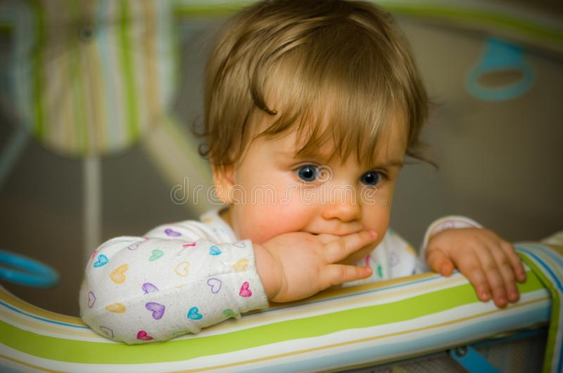 Thoughtful baby in playpen biting her fingers. A thoughtful baby girl in playpen biting her fingers. She seems focused and thinking royalty free stock photos