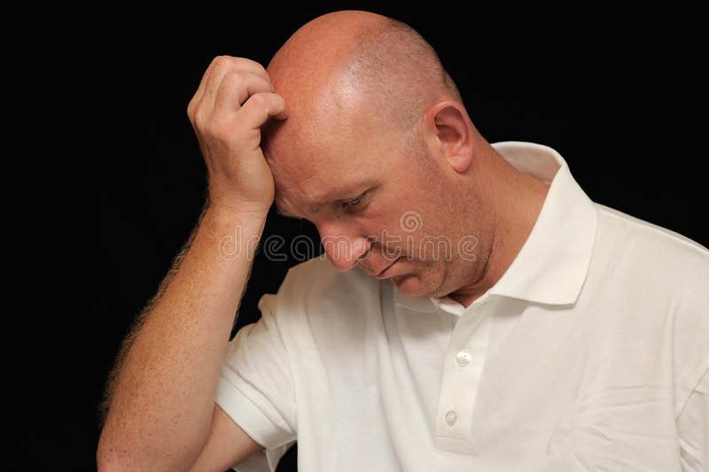 Download Thoughtful bald man stock photo. Image of scratching, space - 6163332