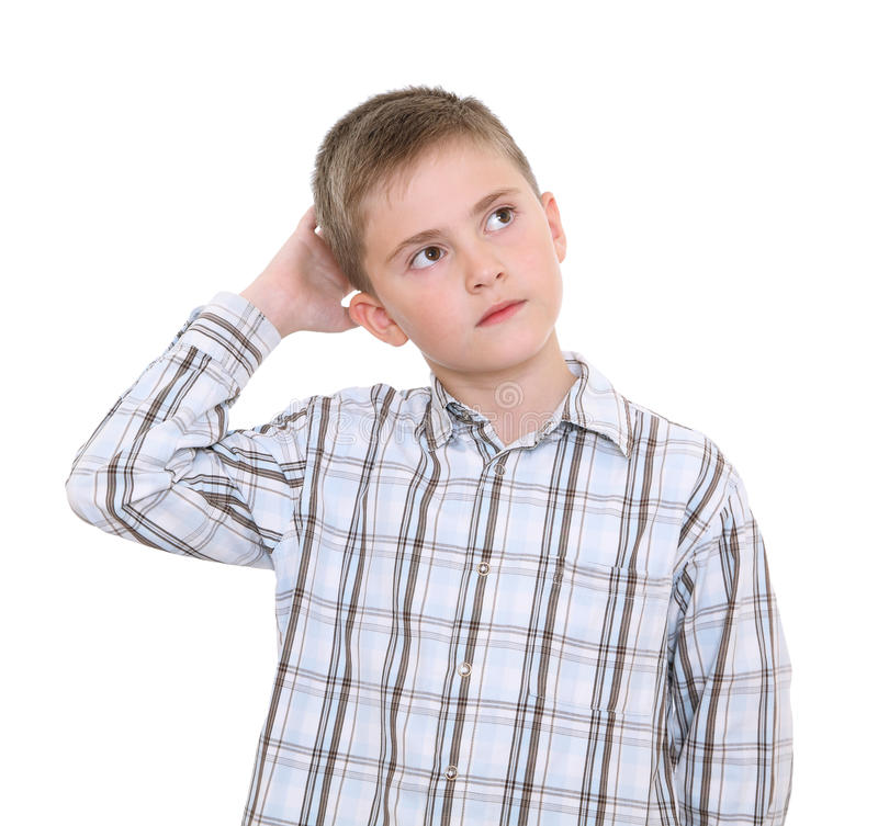 Download Thoughtful boy stock image. Image of trying, head, child - 23469341