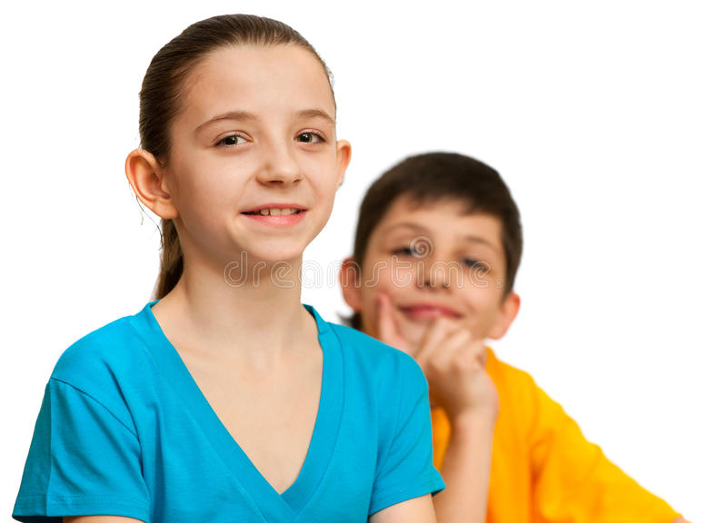 Thoughtful boy and pretty girl stock photography
