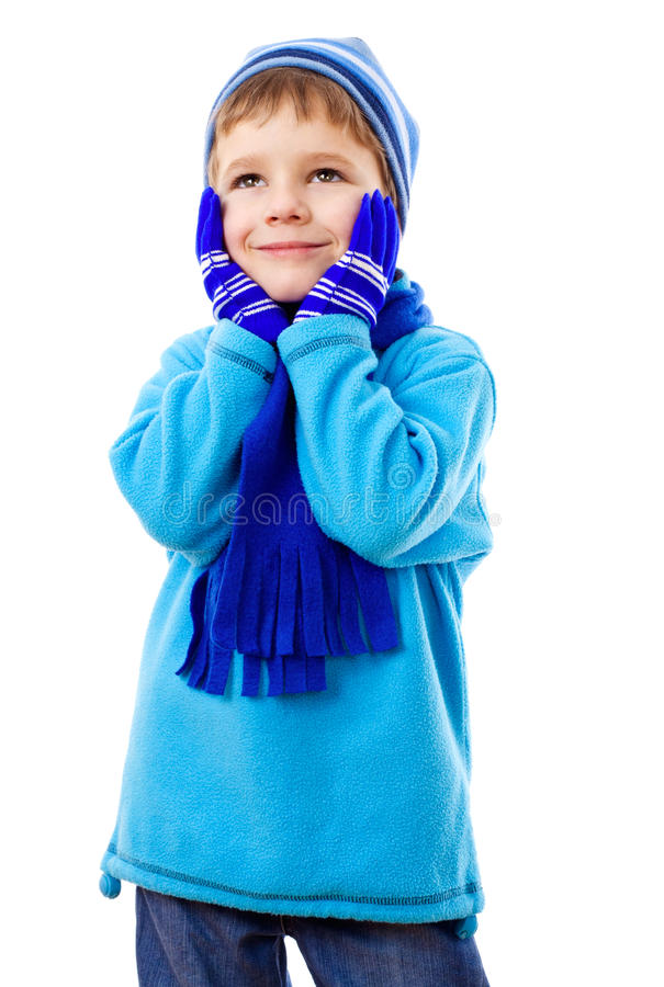 Thoughtful Boy In Winter Clothes Royalty Free Stock Photos