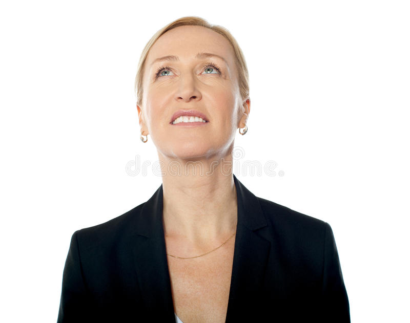 Thoughtful business lady stock image