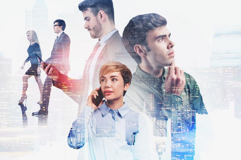 Thoughtful business team in city. Thoughtful young diverse business people portraits with double exposure of cityscape. Concept of teamwork and brainstorming stock photo