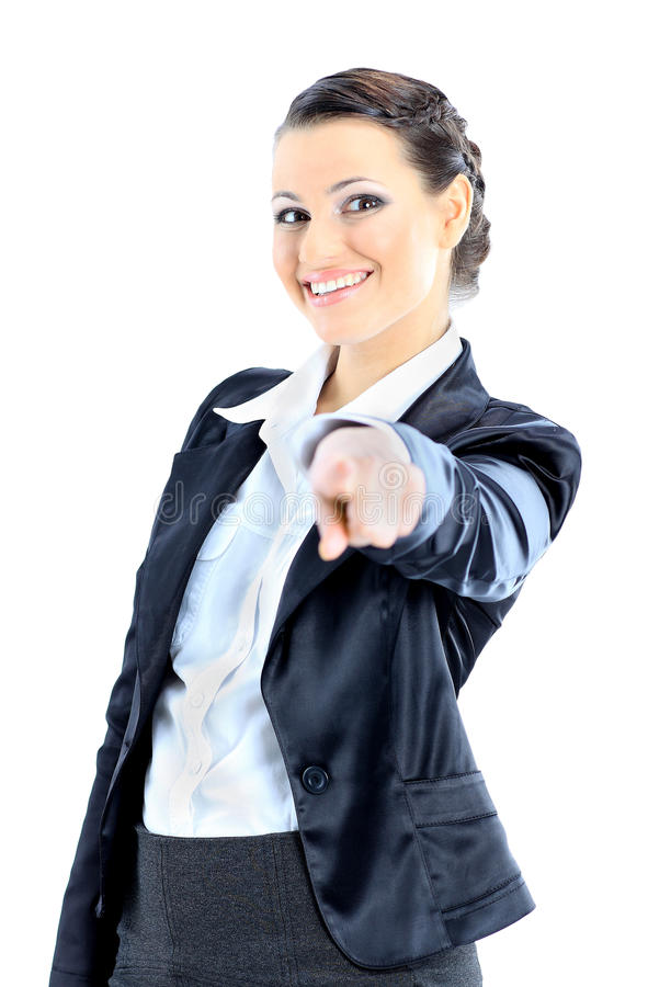 Thoughtful business woman. Nice business woman pointing finger. Isolated on a white background stock photography