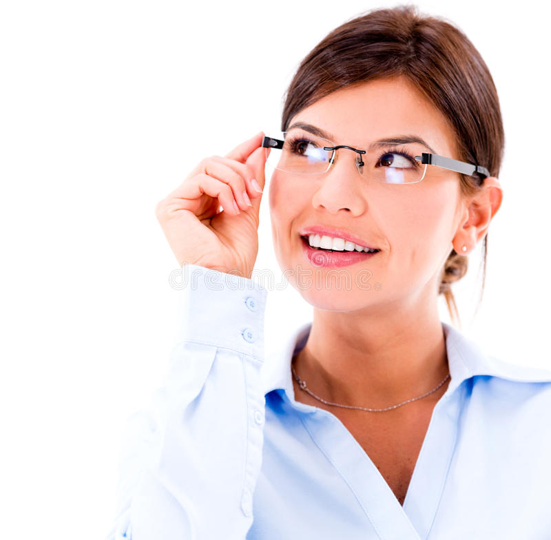 Download Thoughtful business woman stock photo. Image of glasses - 31730724
