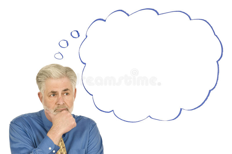 Thoughtful Businessman With Blank Thought Bubble Revised stock photos