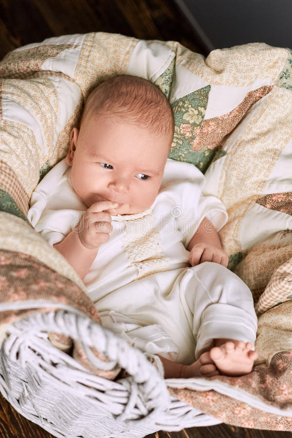 Thoughtful caucasian infant. stock photos