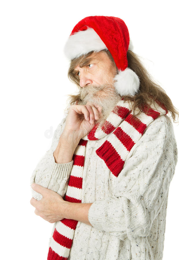 Thoughtful Christmas Old Man With Beard In Red Hat, Santa Claus Royalty Free Stock Images