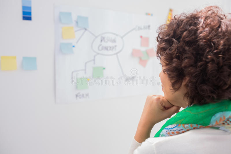 Thoughtful designer. Looking white board stock photography