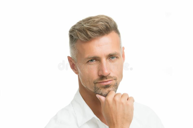 Thoughtful face expression. Grizzle hair suits him. Man handsome well groomed facial hair. Barber shop concept. Barber. And hairdresser. Man mature good looking royalty free stock photo