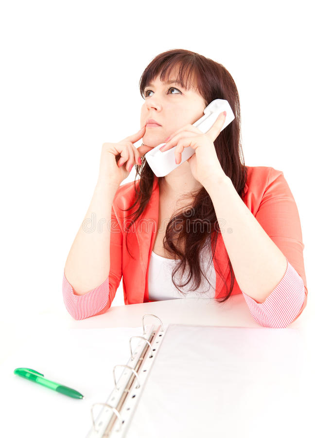 Download Thoughtful Fat Businesswoman On The Phone Stock Image - Image: 24601911