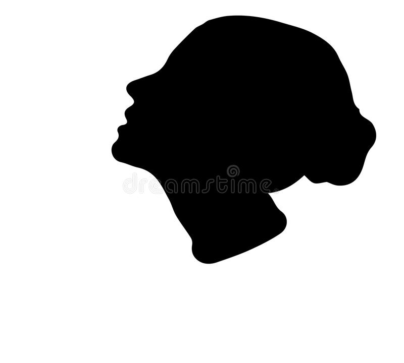 Thoughtful female profile silhouette vector illustration