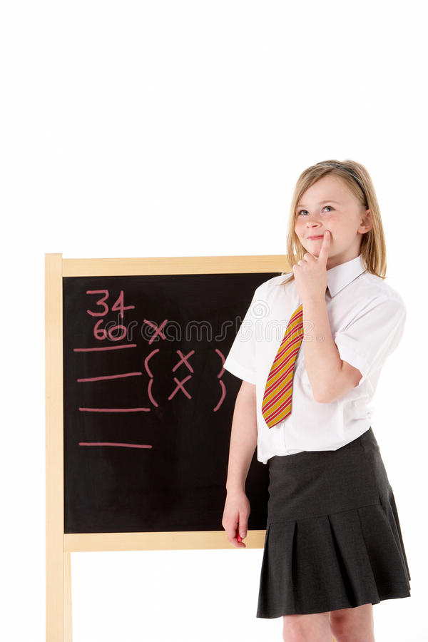 Download Thoughtful Female Student Wearing Uniform Next To Stock Photography - Image: 12987622