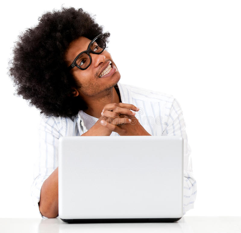 Download Thoughtful Geek With A Laptop Stock Photo - Image: 26452920