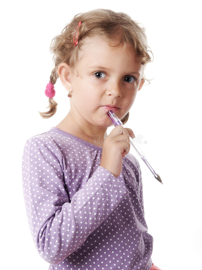 Download Thoughtful girl stock image. Image of pencil, isolated - 25780433