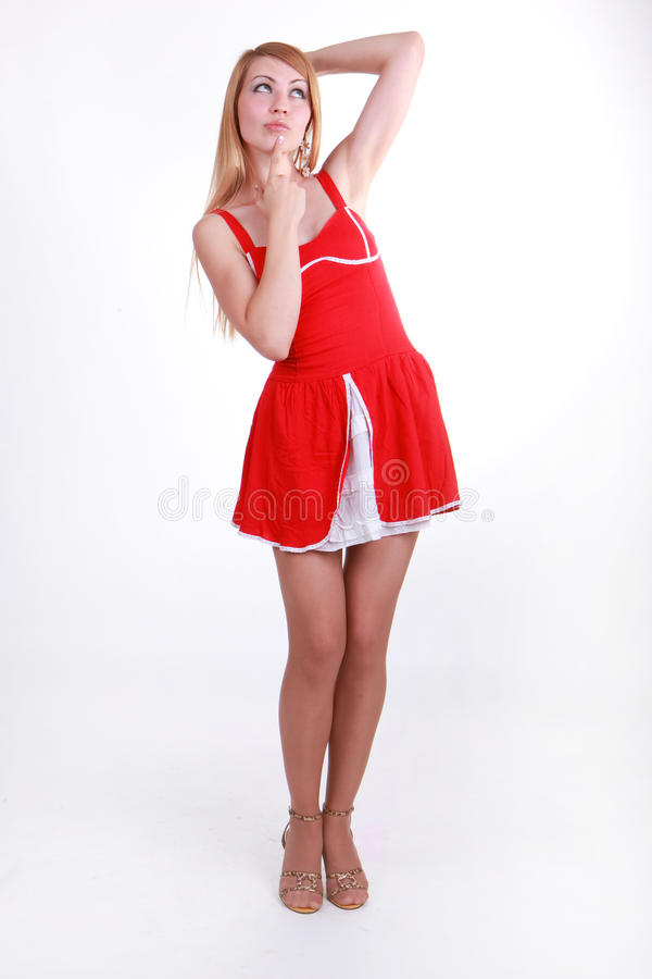 Download Thoughtful Girl In A Red Dress Stock Image - Image: 26562583