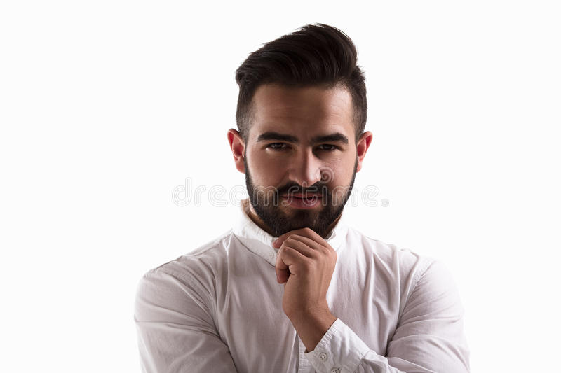 Thoughtful handsome man royalty free stock image