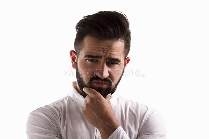 Thoughtful handsome man stock photos