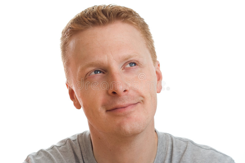 Thoughtful happy man stock images