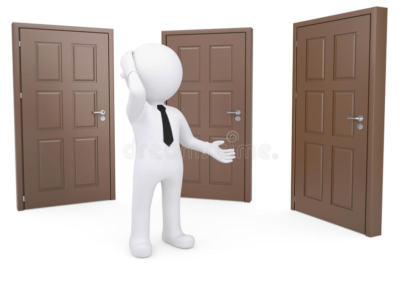 Thoughtful human standing near three doors. Thoughtful white human standing near the three doors. render on a white background royalty free illustration