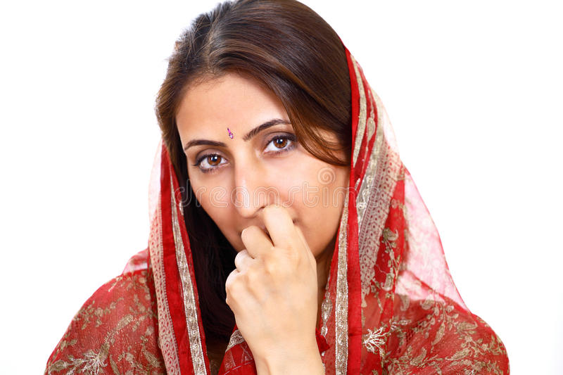 Thoughtful Indian lady stock image