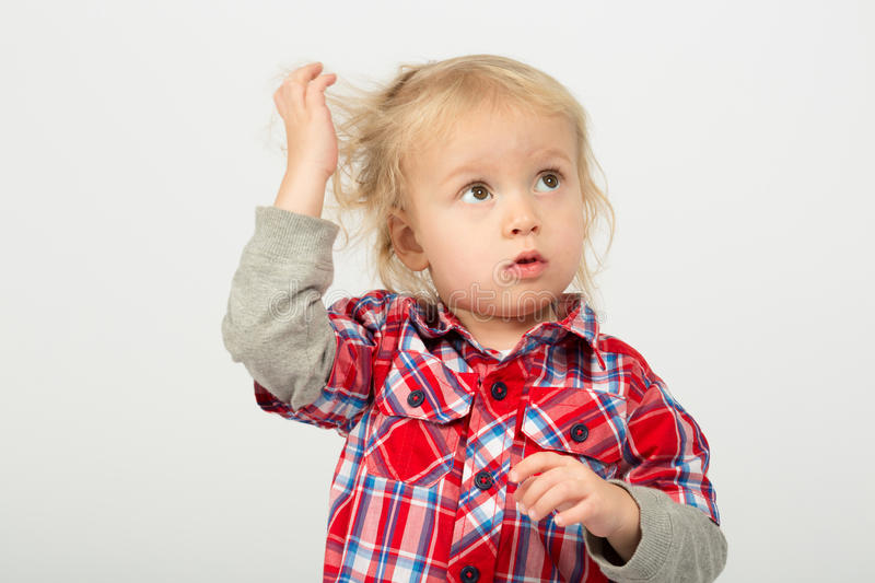 Download Thoughtful little boy stock image. Image of cute, people - 32976543