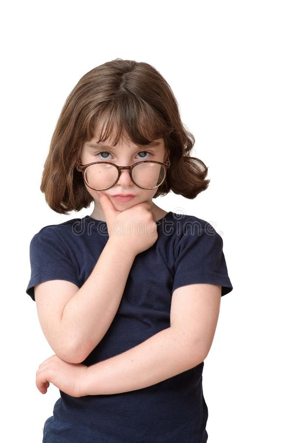 Thoughtful Little Girl In Round Spectacles Rests H Royalty Free Stock Photo