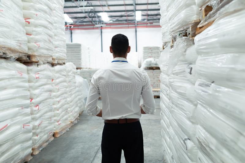 Thoughtful male supervisor standing in warehouse. Rear view of thoughtful Caucasian male supervisor standing in warehouse. This is a freight transportation and stock images