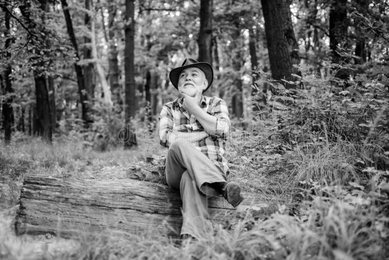 Thoughtful man. hiking in deep wood. forest owner. summer or spring picnic. senior man farmer relax in forest. mature stock image