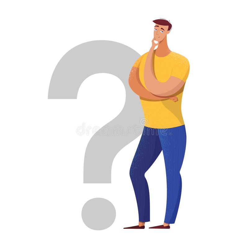 Thoughtful man making decision flat illustration. Doubtful boy with hand on chin isolated character. Male expert, specialist standing near question mark royalty free illustration