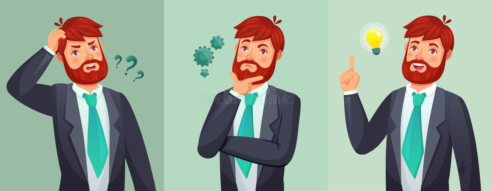 Thoughtful man. Male ask questions, doubt or confused and found question answer. Thinking serious decision cartoon royalty free illustration
