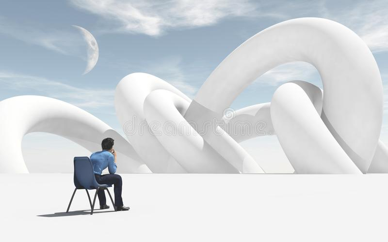 Thoughtful man sitting on chair and looking to horizon. royalty free illustration