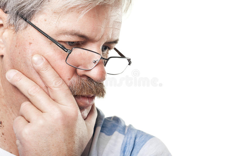 Thoughtful Mature Caucasian Man Isolated On White Royalty Free Stock Photo