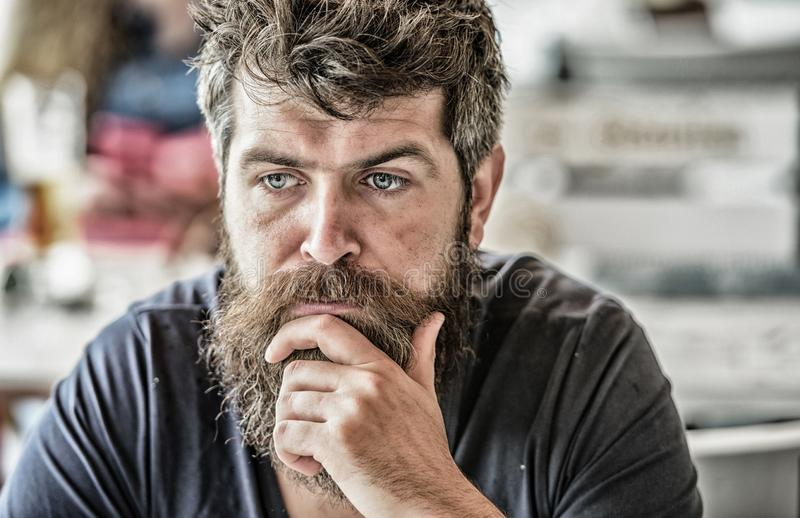 Thoughtful mood concept. Making important life choices. Making hard decision. Man with beard and mustache thoughtful. Troubled. Bearded man concentrated face stock image