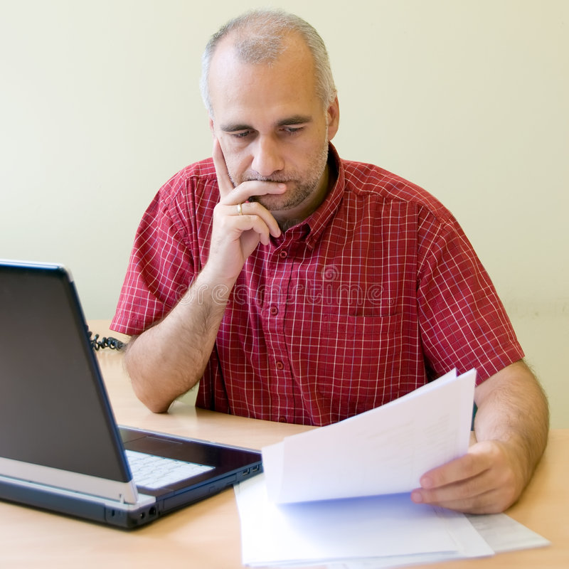 Download Thoughtful office worker stock photo. Image of confusion - 7006650
