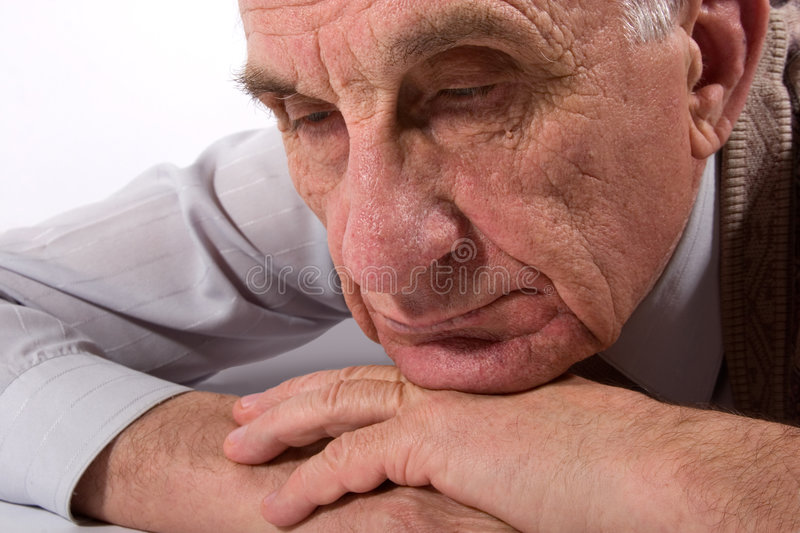 Thoughtful old man royalty free stock photo