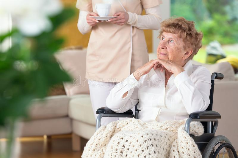 Thoughtful paralysed elderly woman on the wheelchair and caregiver. Thoughtful paralyzed elderly women in a wheelchair and her caregiver stock photo