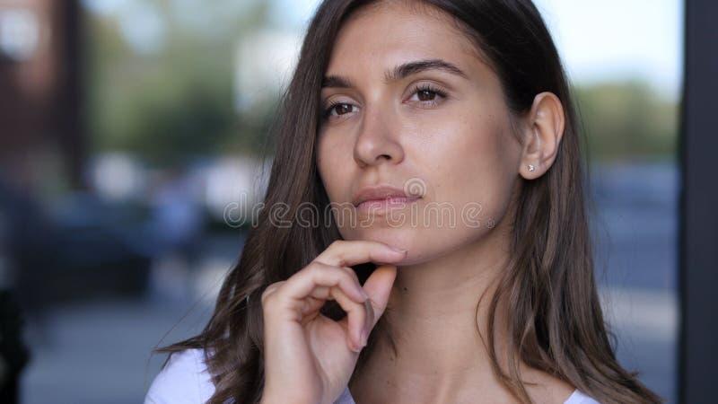 Thoughtful, Pensive Beautiful Girl, Thinking, Brainstorming royalty free stock photo