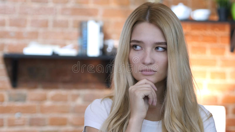 Thoughtful, Pensive Beautiful Girl, Thinking, Brainstorming stock images