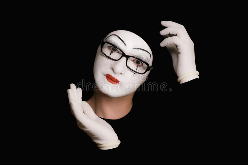 Thoughtful portret of the mime royalty free stock photography